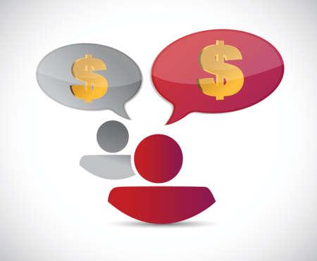 fib: hablar de dinero concepto de dise�o ilustraci�n sobre un fondo blanco