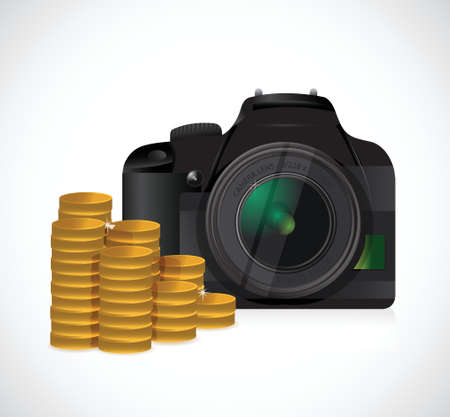 telephoto: coins and camera illustration design over a white background Illustration