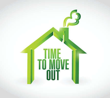 time to move out message illustration design over a white background Vector