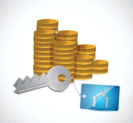 dwelling: coins and home keys. illustration design over a white background Illustration