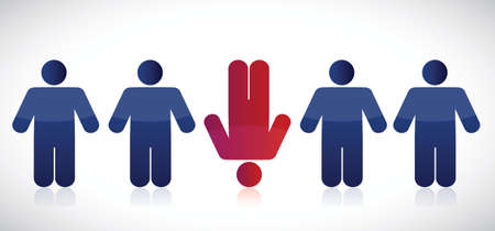 dissident: strange row of people. illustration design over a white background Illustration