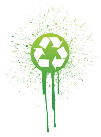environmental awareness: ink recycle symbol illustration design over a white background