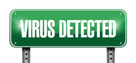 detected: virus detected sign illustration design over a white background