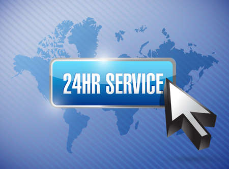 hour hand: 24hr service button illustration design over a world map background