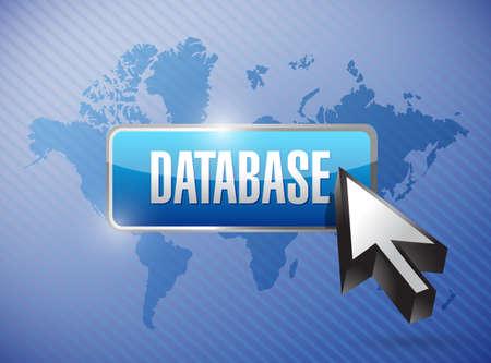世界地図背景上データベース ボタン イラスト デザイン 写真素材