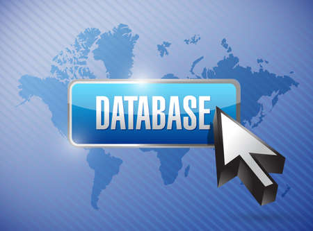 bank records: database button illustration design over a world map background Stock Photo
