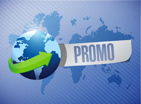 promo globe message over a world map illustration design illustration