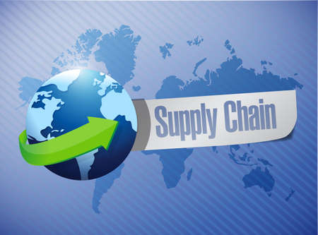 supply chain globe message over a world map illustration design Stock Photo