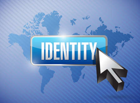 identity button illustration design over a world map background Imagens
