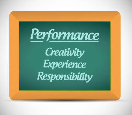 performance keys on a blackboard. illustration design over a white background