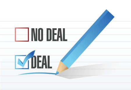gaan geen deal vinkje selectie illustratie ontwerp op een witte achtergrond