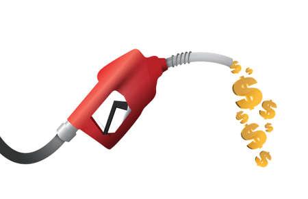 dollar munt illustratie benzinepomp ontwerp over een witte achtergrond Stock Illustratie