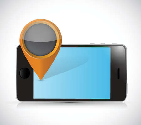 phone and locator pointer illustration design over a white background