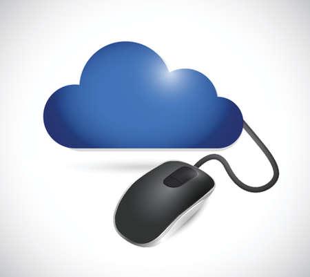 wolk en kabelaansluiting snoer illustratie ontwerp op een witte achtergrond