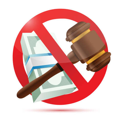 enforce: no money and law concept illustration design over a white background Illustration