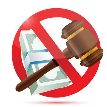 orden judicial: sin dinero y concepto de Derecho diseño ilustración sobre un fondo blanco Vectores