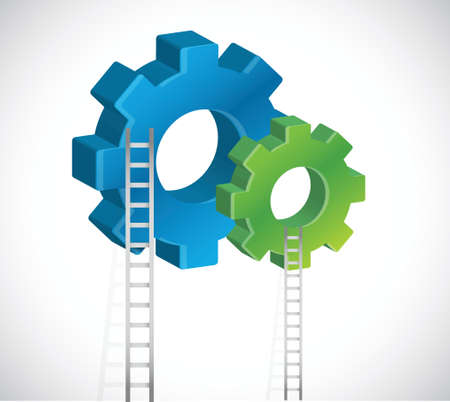 gear and ladder illustration design over a white background Vector