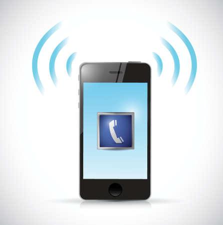 鳴っている電話イラスト デザイン、白い背景の上  イラスト・ベクター素材