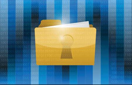 bussines: lock folder and binary illustration design