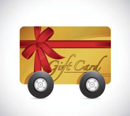 gift card en wielen. illustratie ontwerp op een witte Stock Illustratie