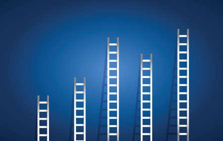 stepladder: set of ladders illustration design over a blue  Illustration