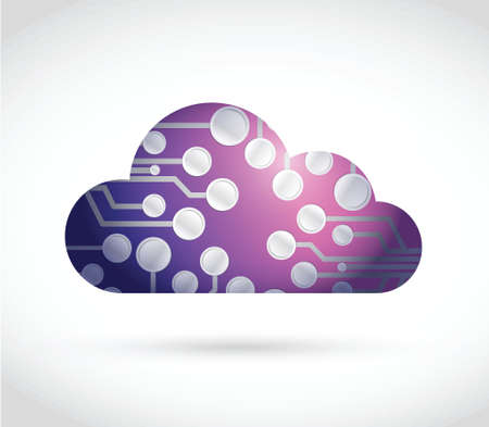 circuit cloud illustration design over a white background Vector