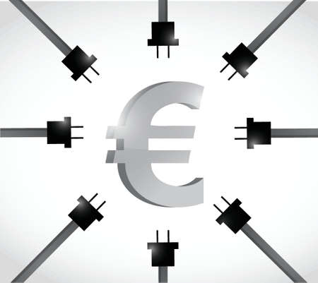 receptacle: euro currency and power cables. illustration design over a white background