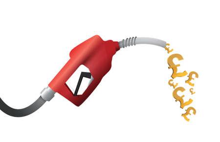 diesel: british pound currency gas pump illustration design over a white