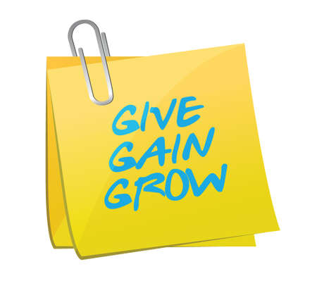 gain: give, gain, grow post message illustration design over a white background Illustration