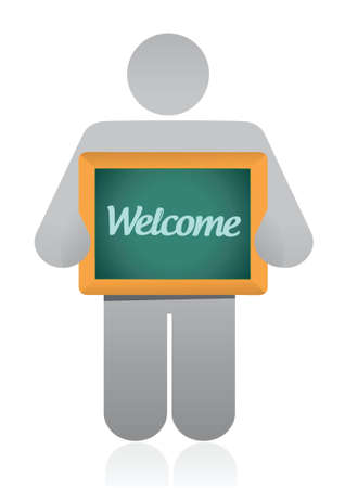 welcome message illustration design over a white background