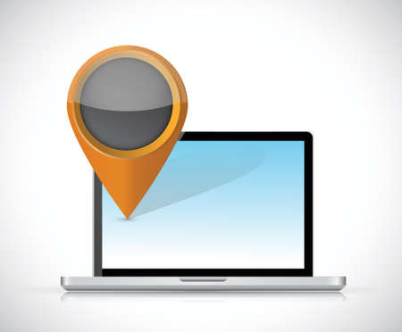 laptop and locator pointer illustration design over a white background Vector