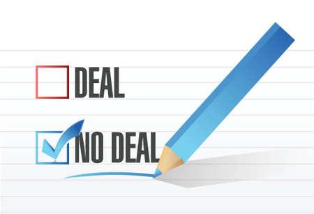 deal no deal check mark selection illustration design over a white background