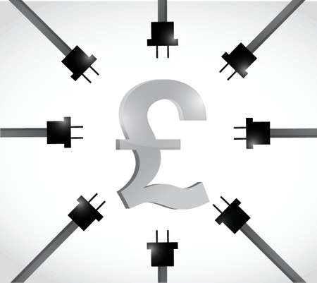 british pound currency and power cables. illustration design over a white  Stock Illustratie