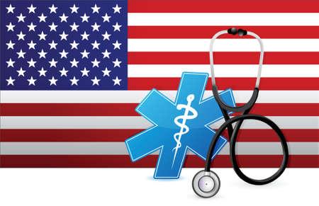 Amerikaanse geneeskunde concept illustratie ontwerp op een vlag achtergrond