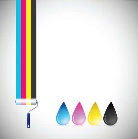 four color printing: cmyk paint roller and ink drops illustration design over a white  Illustration