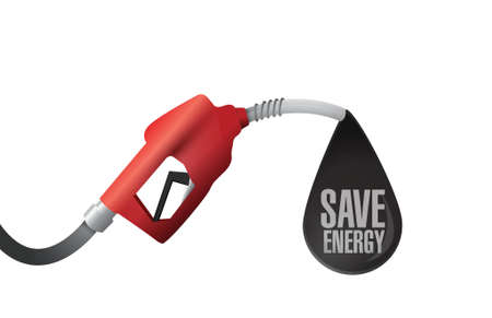 gas pump and save energy message illustration design over a white