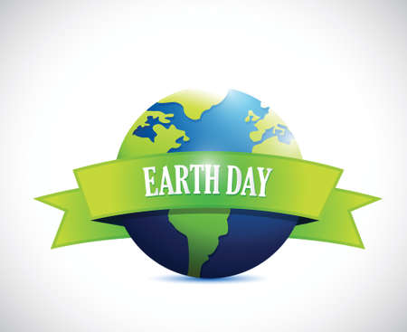 earth day sign banner illustration design over a white  Vector