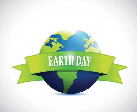 earth day sign banner illustration design over a white