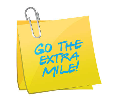 mile: go the extra mile post illustration design over a white