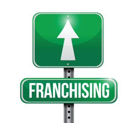 franchising: franchising sign illustration design over a white background