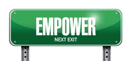 sanction: empower street sign illustration design over a white background