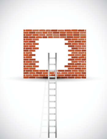 ladder of success: ladder to wall illustration design over a white background