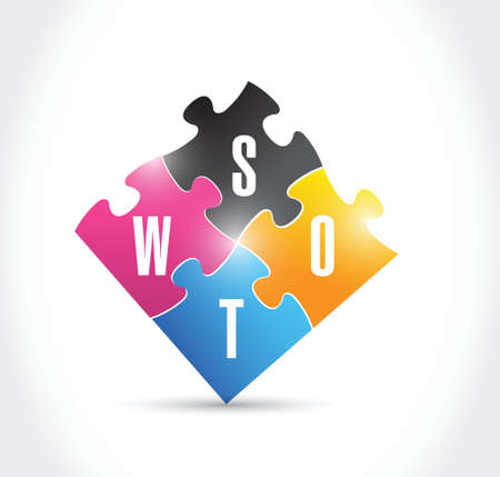 swot puzzle illustration design over a white background Vector