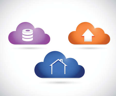 color cloud icons cloud currency concept illustration design over a white background