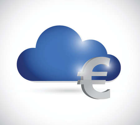 euro cloud currency concept illustration design over a white background