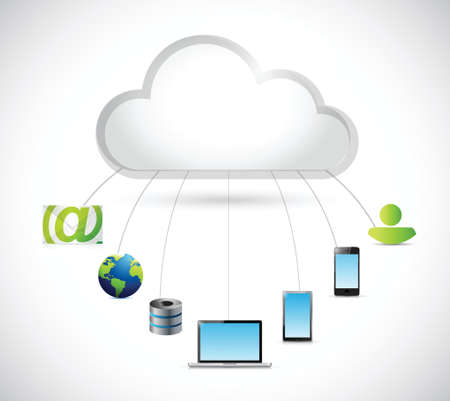 cloud computing and electronics around illustration design over a white background Vector
