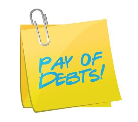 betaal voor het ontwerp van de schulden postberichtillustratie over een witte achtergrond