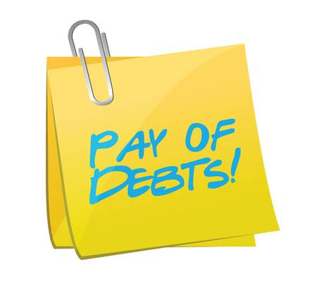 pay for: pay for debts post message illustration design over a white background Illustration