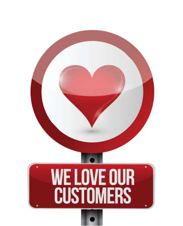 we love our customers illustration design over a white background Vector