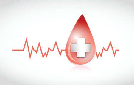 blood drop lifeline illustration design over a white background